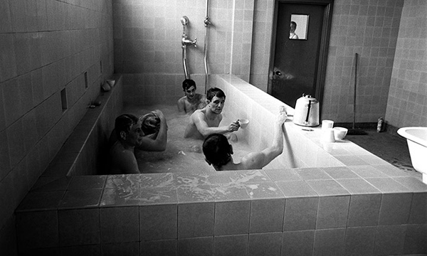 George Best and team-mates enjoy a cup of tea in the bath